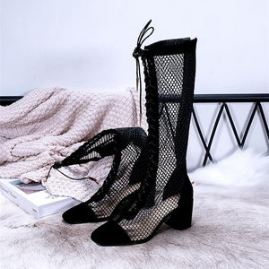 Black/Beige/Silver Laced Net High Boots SP14226 - SpreePicky FreeShipping