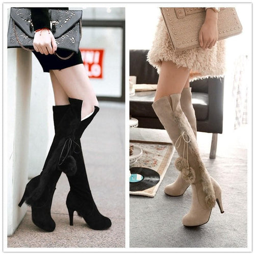 Black/Beige Winter Fluffy High Heels Boots SP1710786