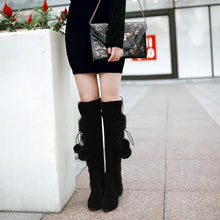 Load image into Gallery viewer, Black/Beige Winter Fluffy High Heels Boots SP1710786