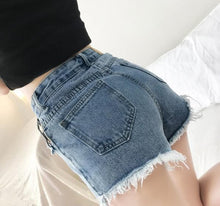 Load image into Gallery viewer, Black/Blue Chic Tassel Denim Shorts S12776