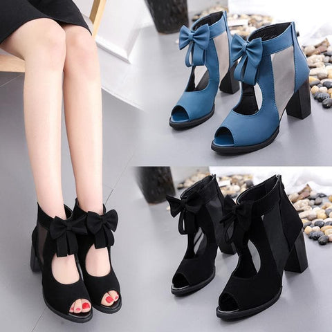 Black/Blue Elegant Lolita Bow High Sandals SP1710765