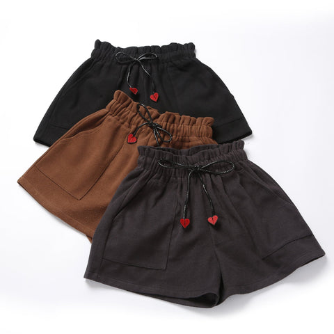 Black/Brown/Deep Grey Leisure Sweet Heart Shorts SP1711442
