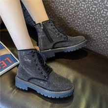 Load image into Gallery viewer, Black/Brown Gothic Rhinestone Martin Boots SP14311 - SpreePicky FreeShipping