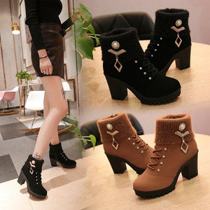 Black/Brown Sweet Fleece Heels Boots S12896