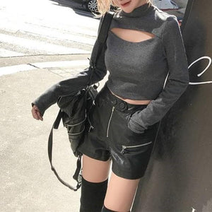 Black/Gray Chest Hallow Out Short Shirt SP14056 - SpreePicky FreeShipping