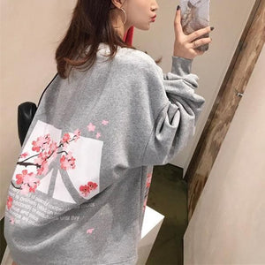 Pink/Grey/Black Peace Sakura Blossom Pullover Jumper SP13548