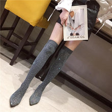Load image into Gallery viewer, Black/Grey Bling Rhinestone Long Socks Boots SP14329