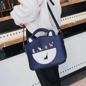 Black/Navy Kawaii Cat Two-Way Bag SP13613