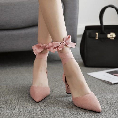 Black/Pink Elegant Ribbon Bow Heel Shoes SP13597