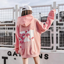 Load image into Gallery viewer, Black/Pink Peace Sakura Blossom Hoodie Jumper S12870