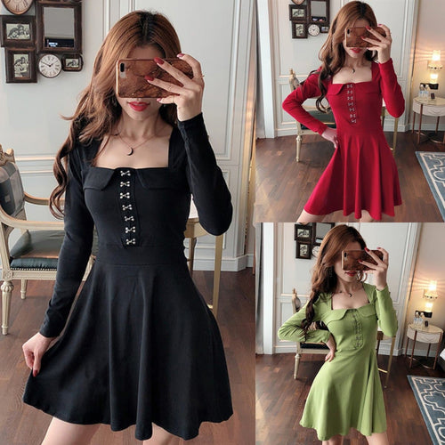 Black/Red/Green Sweet Buttons Long Sleeve Dress SP14365