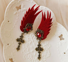 Load image into Gallery viewer, Black/Red Gothic Tassels Wing Ear Clips SP1710788