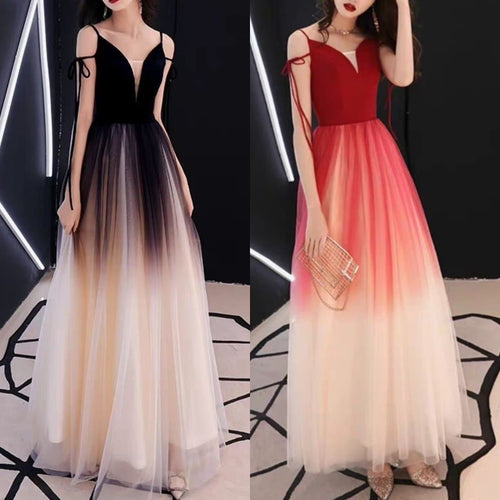Black/Red Gradient Tulle Party Maxi Dress SP14086