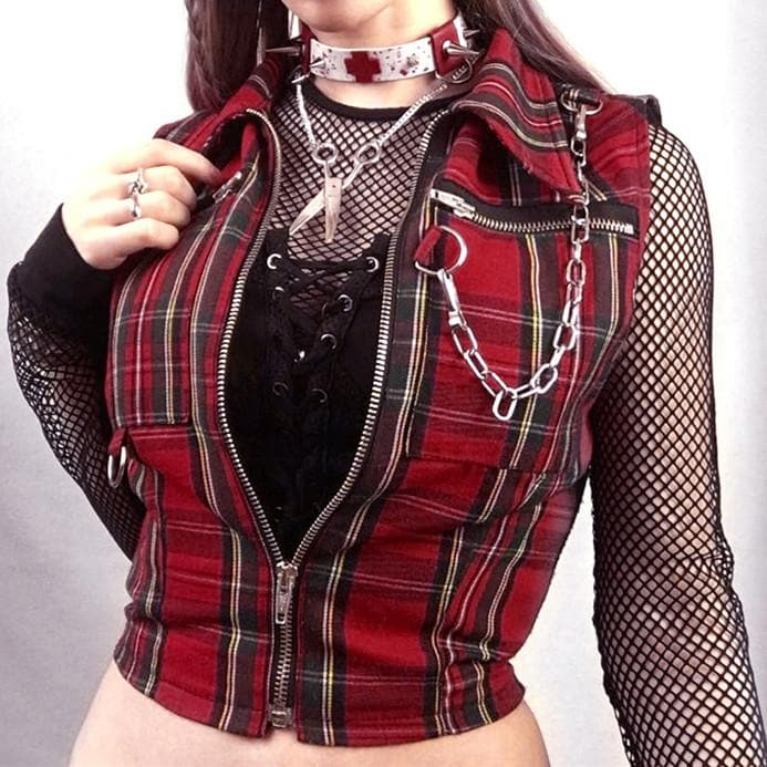 Black/Red Grid Gothic Chain Zipper Vest Top SP14177
