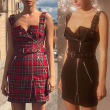 Load image into Gallery viewer, Black/Red Grid Gothic Zipper Suspender Dress SP14132