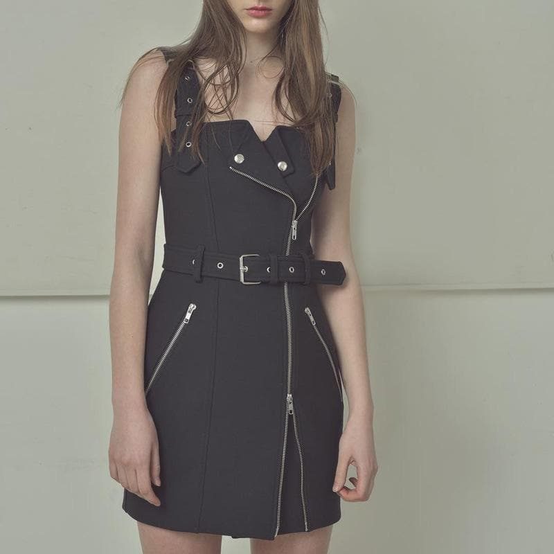 Black/Red Grid Gothic Zipper Suspender Dress SP14132