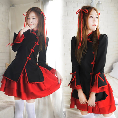 Black/Red Lolita Maid Hanfu Cosplay Dress SP1710549