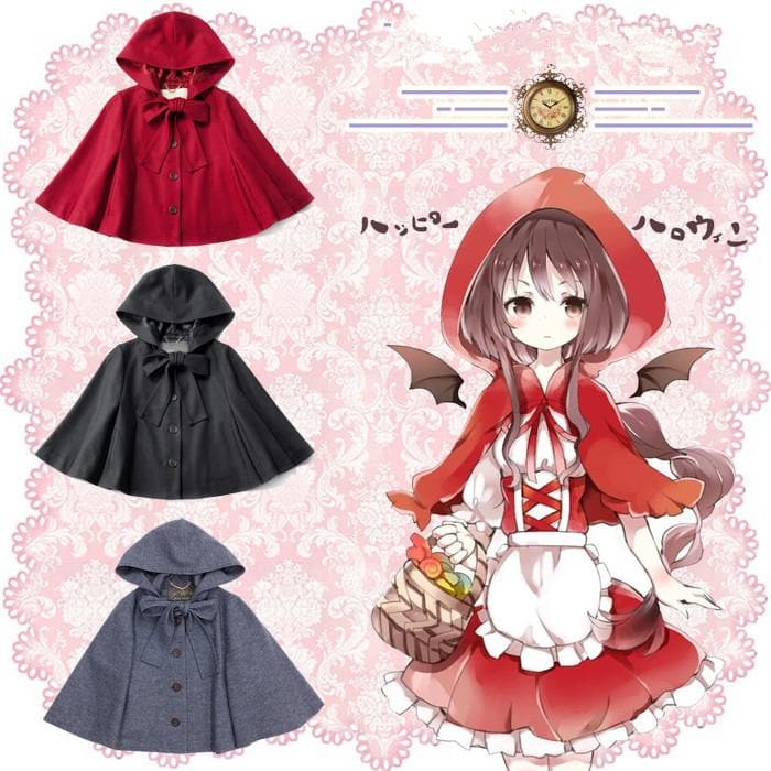 Black/Red Preppy Style Lolita Phocho Cape SP1711123