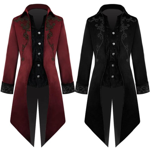 Black/Red Retro Punk Swallowtail Coat SP14121