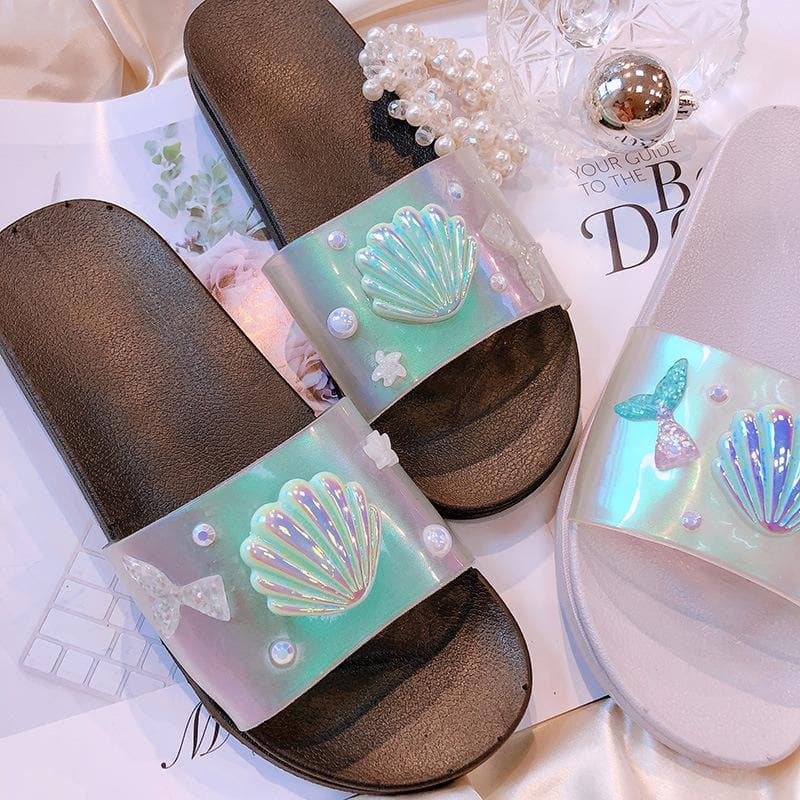 Black/Silver Hologram Mermaid Scallop Slippers SP14068