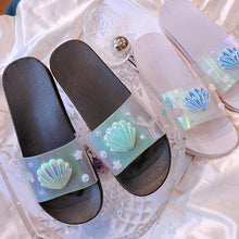 Load image into Gallery viewer, Black/Silver Hologram Mermaid Scallop Slippers SP14068