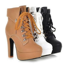 Load image into Gallery viewer, Black/White/Brown Elegant Laced High Heel Boots S12831