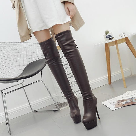 Black/White/Brown Sweet Gothic High Boots SP1710906 Page1