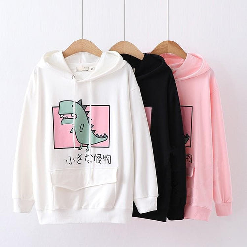 Black/White/Pink Kawaii Dinosaur Hoodie Jumper SP14105