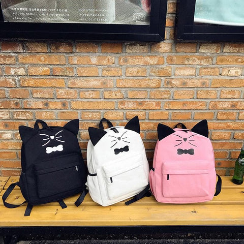 Black/White/Pink Kawaii Kitty Bow Backpack SP1710761