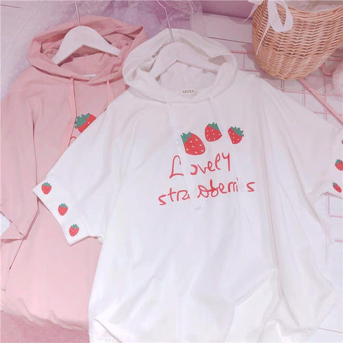 Black/White/Pink Lovely Strawberries Hoodie Shirt SP13790