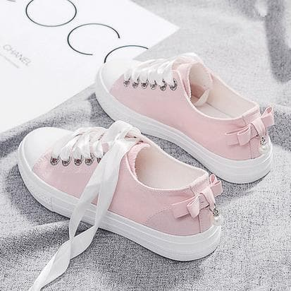 Black/White/Pink Student Bow Canvas Shoes SP1710760