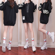 Load image into Gallery viewer, White/Black/Red Loose Casual Midi Hoodie Jumper S12805