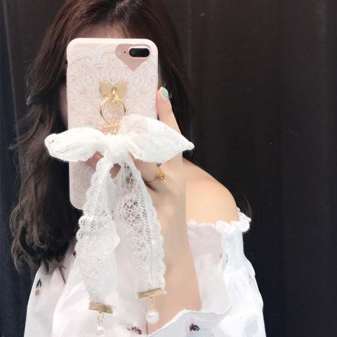 Black/White Elegant Lace Bow Phone Case SP1710591