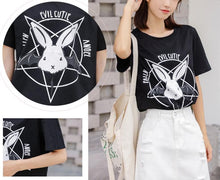 Load image into Gallery viewer, Black/White Evil Cutie Bunny Tee Shirt SP13950