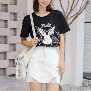 Black/White Evil Cutie Bunny Tee Shirt SP13950