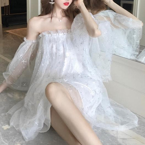 Black/White Fairy Star Off Shoulder Dress SP13778