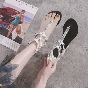 Black/White Gothic Skull Cross Sandles SP13811