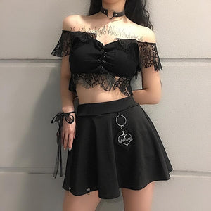 Black/White Hallow Out Lace Crop Top SP13575
