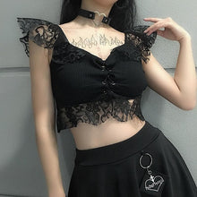 Load image into Gallery viewer, Black/White Hallow Out Lace Crop Top SP13575