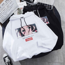 Load image into Gallery viewer, Black/White Harajuku Will you love me Printing Hoodie Jumper SP13308