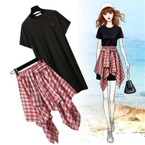 Black/White Kawaii Grid Blouse Skirt Dress Set SP13887