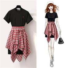 Load image into Gallery viewer, Black/White Kawaii Grid Blouse Skirt Dress Set SP13887