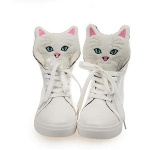 Black/White Kawaii Kitty High Sneakers SP1710669