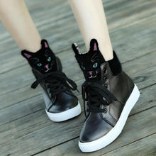 Load image into Gallery viewer, Black/White Kawaii Kitty High Sneakers SP1710669