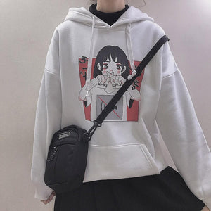 Black/White Kawaii Mute Hoodie Jumper SP13415