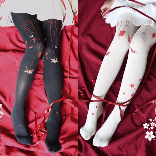 Black/White Kawaii Sakura Lolita Tights SP13480