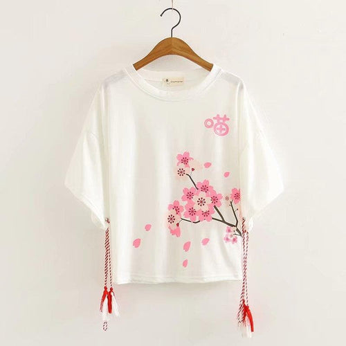Black/White Kawaii Sakura Tee Shirt SP13704