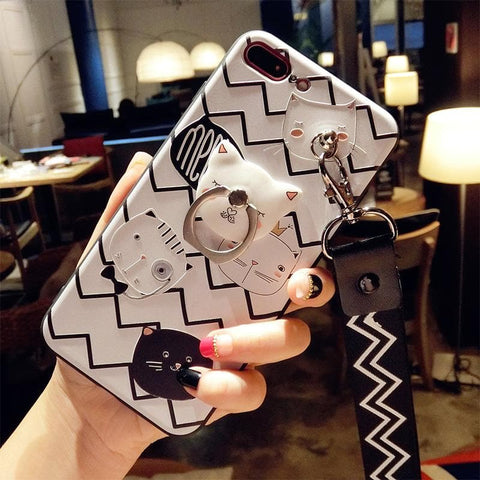 BlackWhite Kitty Iphone Phone Case with Holder SP1711284
