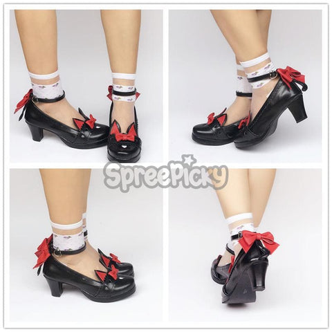 Black/White Lolita Lovely Cat with Tail Shoes  SP1711324