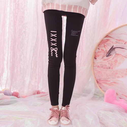 Black/White Mori Girl Bow Fleece Leggings SP1711586